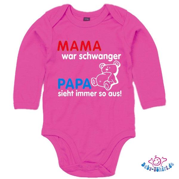 babybody langarm bedruckt mit mama war schwanger papa sieht immer so aus. Black Bedroom Furniture Sets. Home Design Ideas