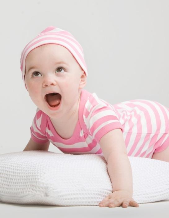 babybody gestreift - mit Firmenlogo