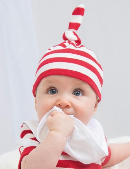 Babymütze mit Firmenlogo - gestreift Einknopfmütze